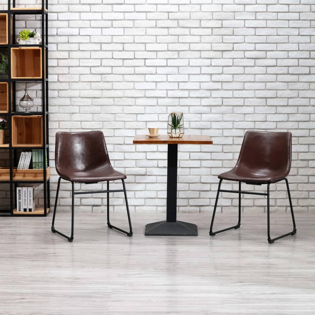 Jídelní židle leskle hnědá umělá kůže
