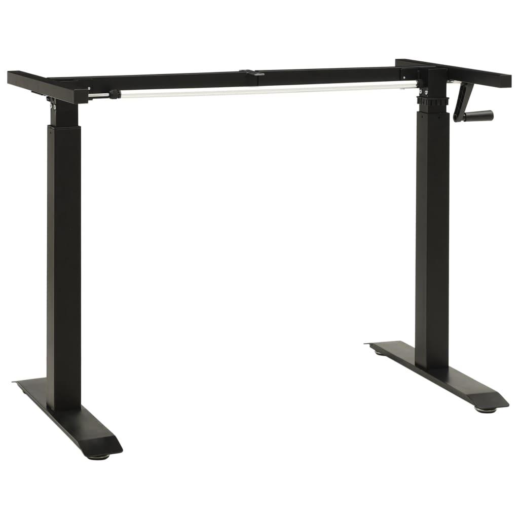 vidaXL Cadru de birou cu înălțime reglabilă manual, manivelă, negru vidaxl.ro