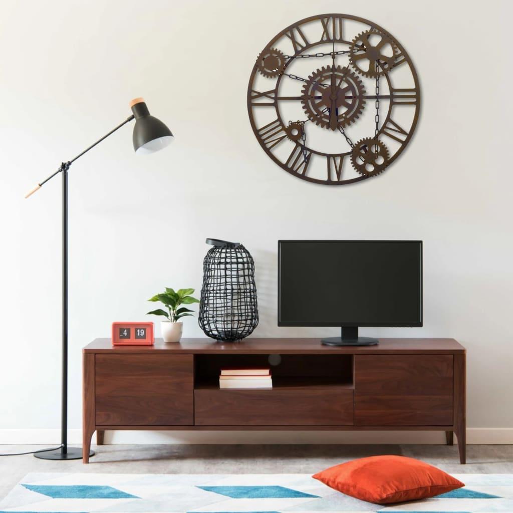 vidaXL Ceas de perete, maro, 80 cm, metal poza 2021 vidaXL