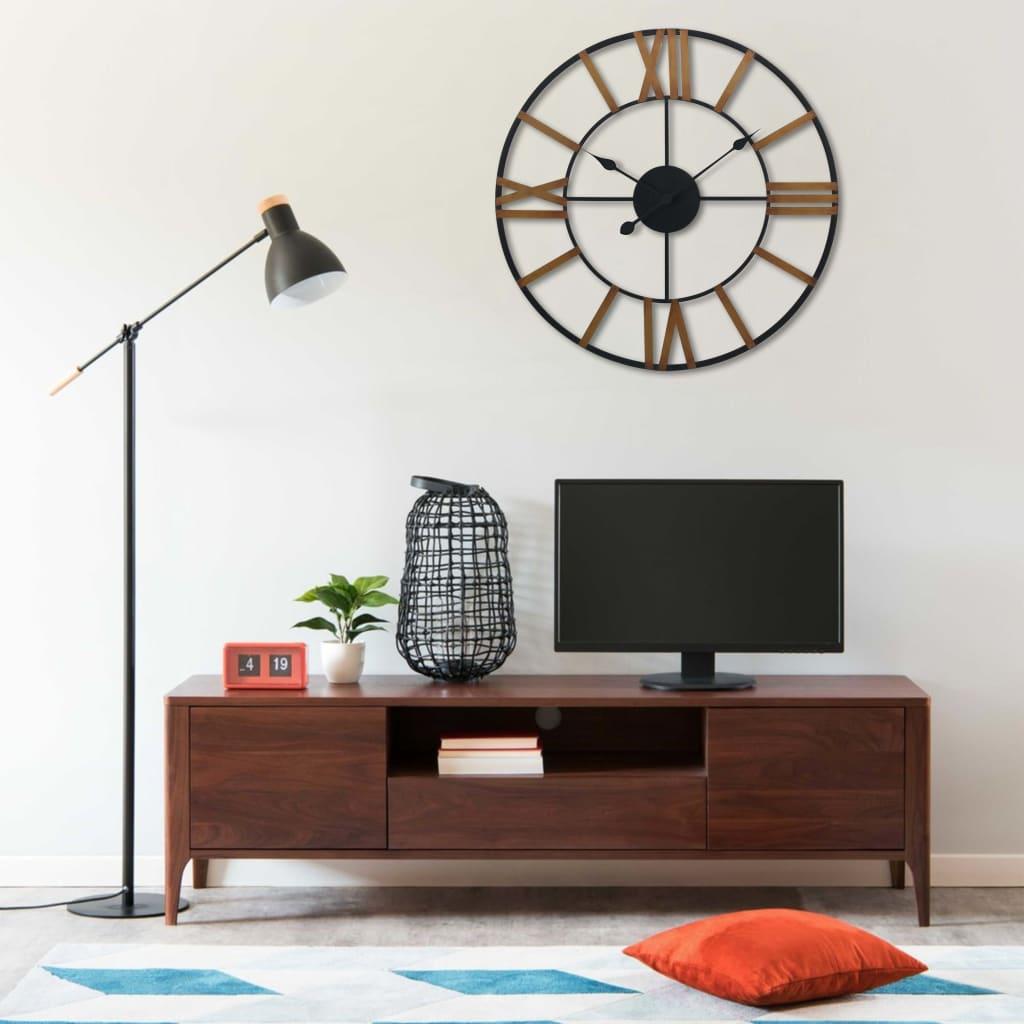vidaXL Ceas de perete, auriu și negru, 80 cm, metal poza 2021 vidaXL