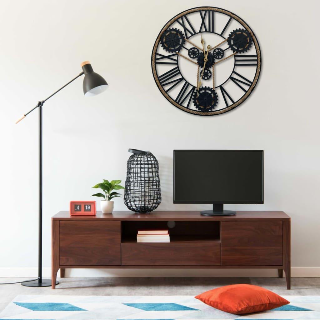 vidaXL Ceas de perete, negru, 80 cm, metal poza 2021 vidaXL