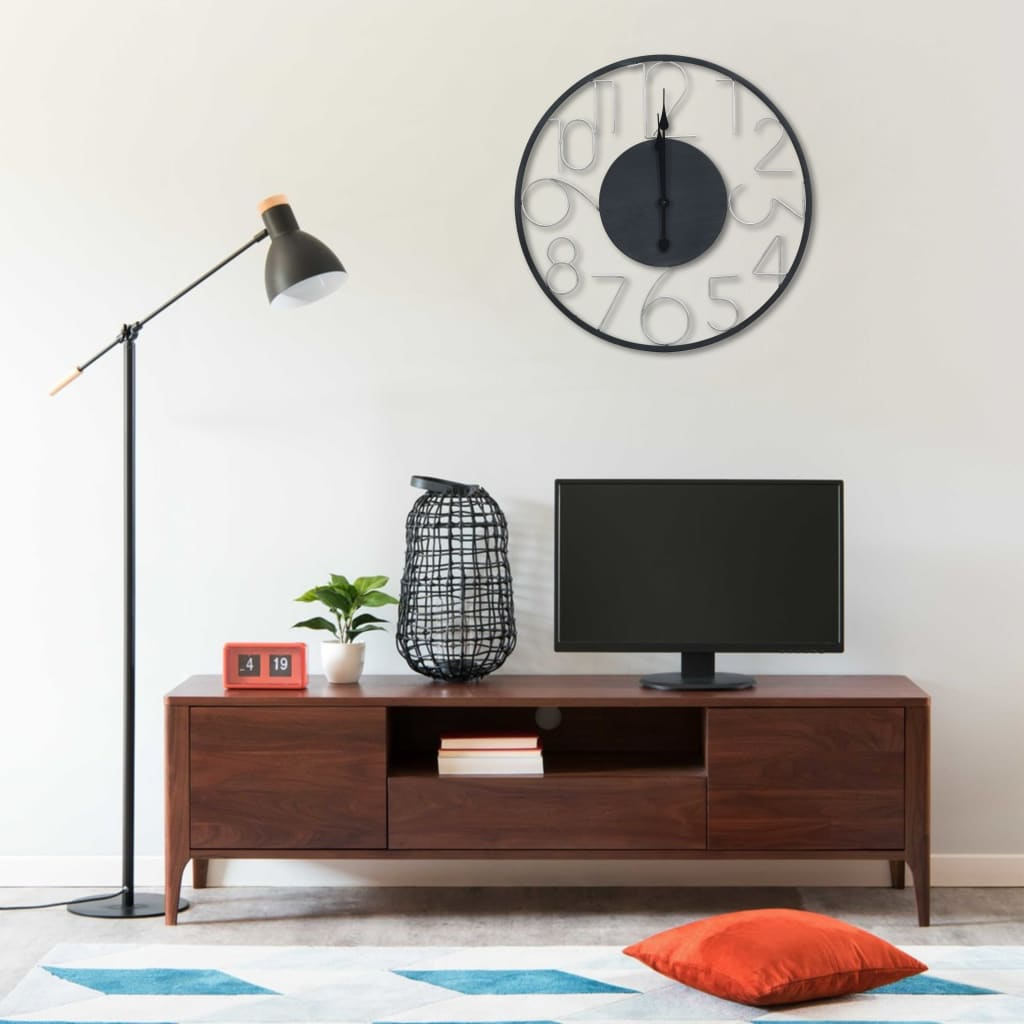 vidaXL Ceas de perete, negru, 60 cm, metal poza 2021 vidaXL