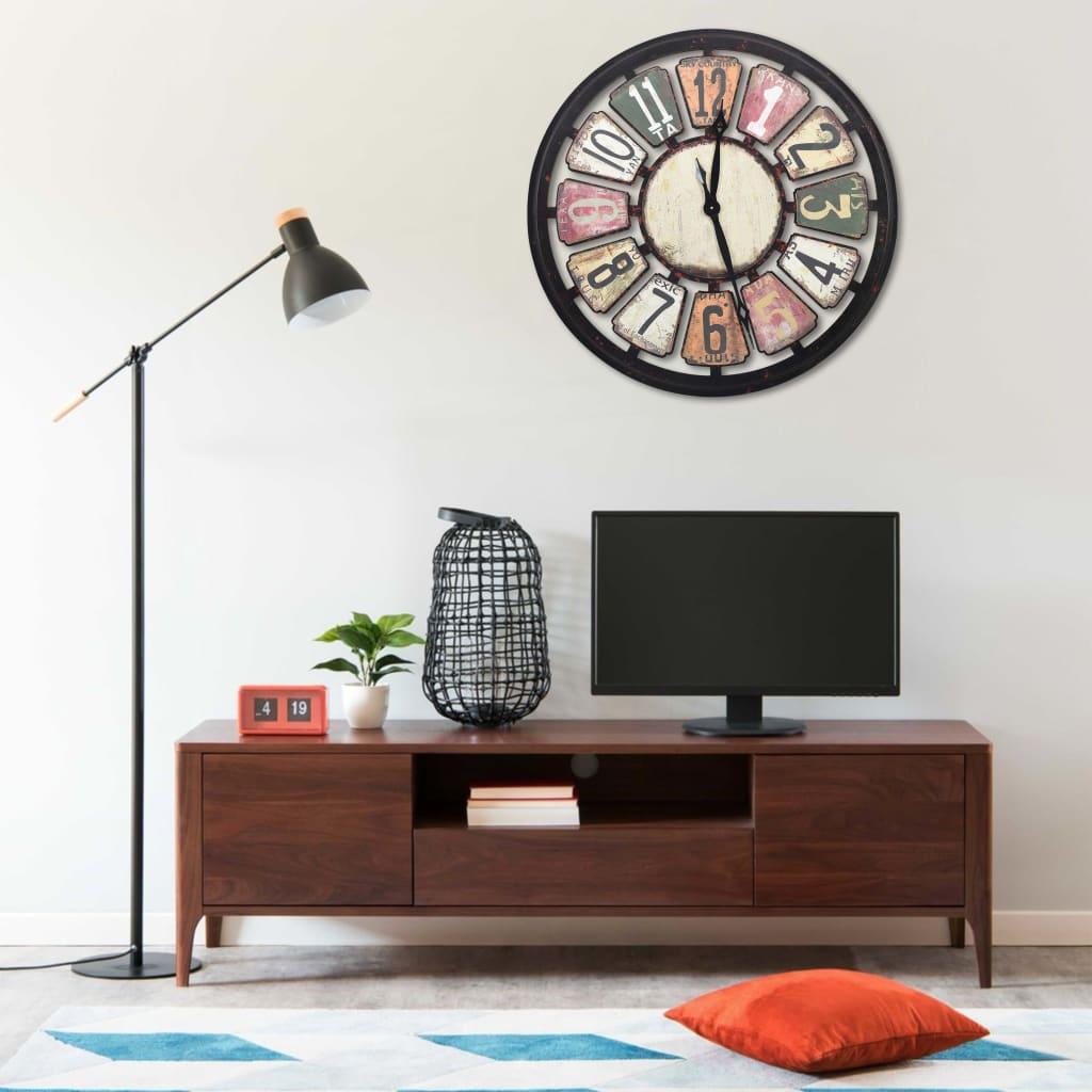 vidaXL Ceas de perete, multicolor, 80 cm, MDF poza 2021 vidaXL