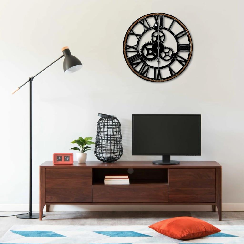 vidaXL Ceas de perete, negru, 60 cm, MDF poza vidaxl.ro