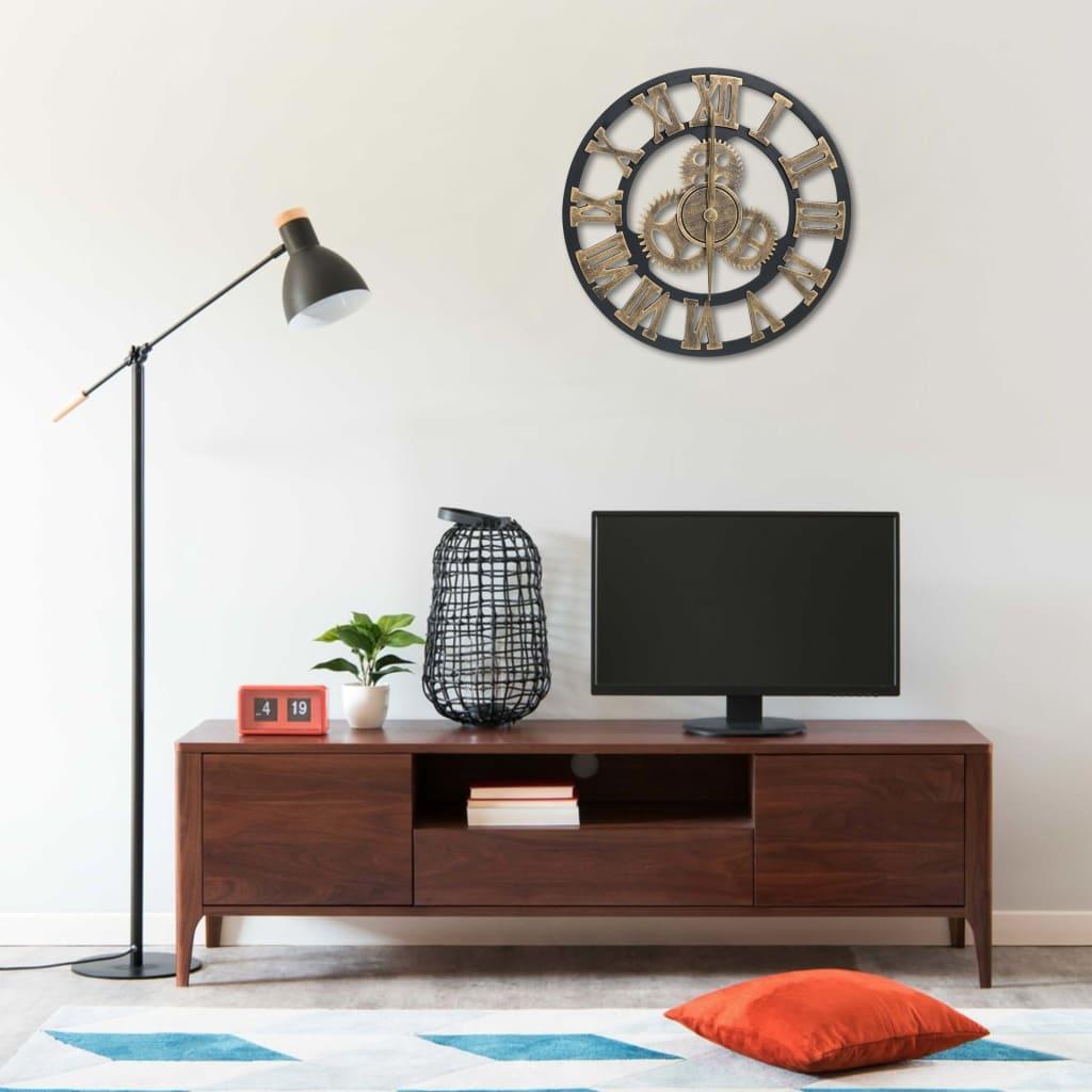 vidaXL Ceas de perete, auriu și negru, 45 cm, MDF poza 2021 vidaXL