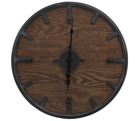 vidaXL Wall Clock Brown and Black 45 cm Iron and MDF
