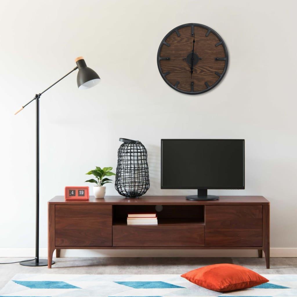 Nástěnné hodiny hnědo-černé 45 cm železo a MDF
