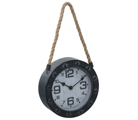vidaXL Wall Clock with Rope Black 20 cm Metal and MDF