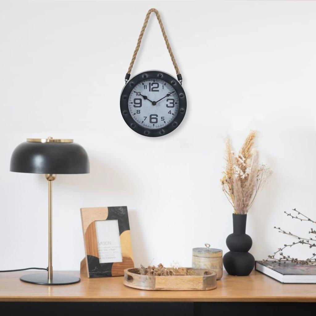 Nástěnné hodiny na provazu černé 20 cm kov a MDF