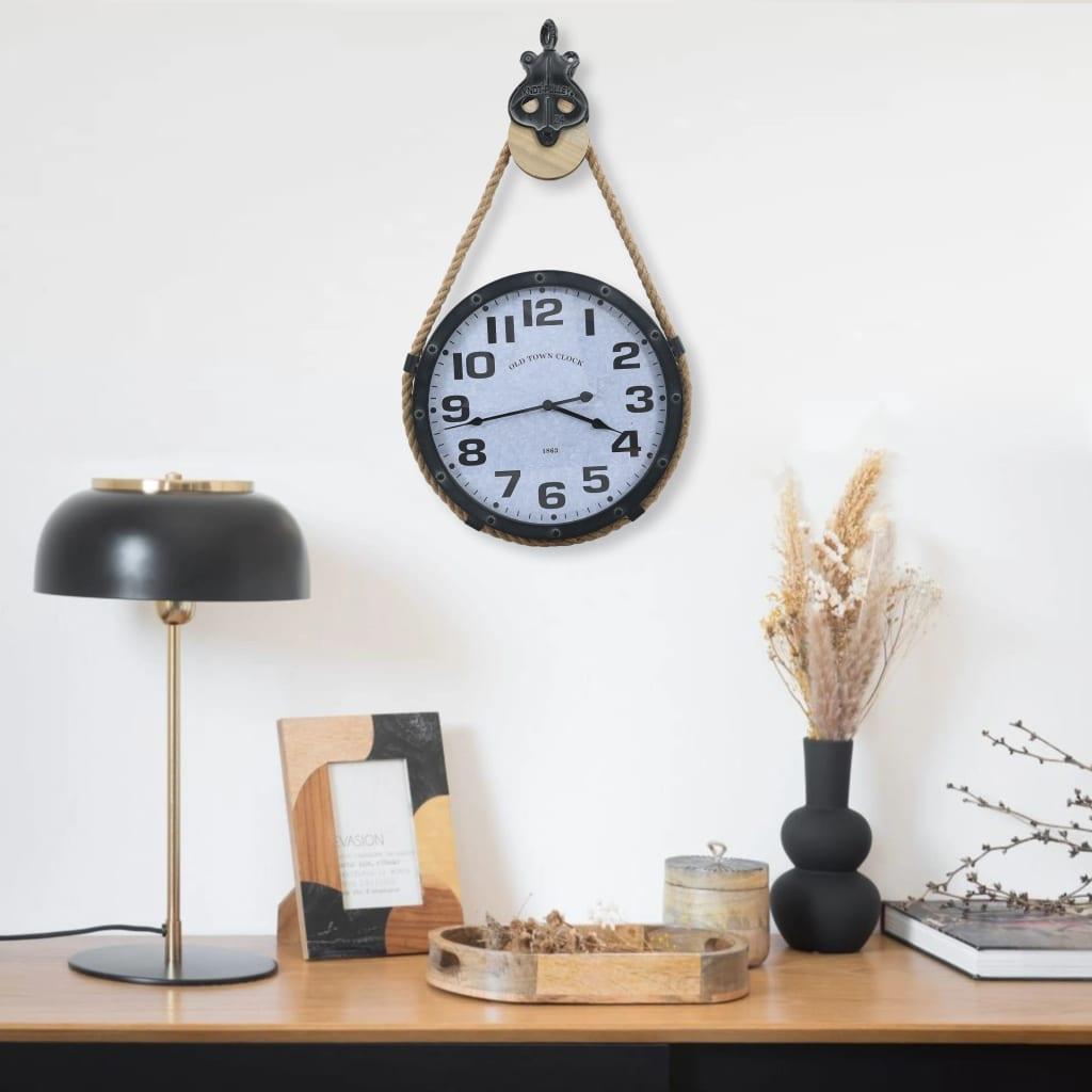 vidaXL Ceas de perete cu funie, negru și maro, 44x8x79 cm, fier & MDF vidaxl.ro