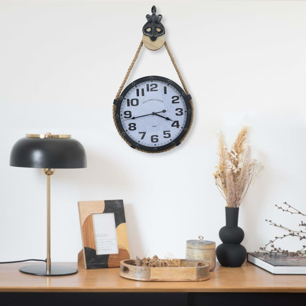 vidaXL Ceas de perete cu funie, negru și maro, 44x8x79 cm, fier & MDF poza 2021 vidaXL