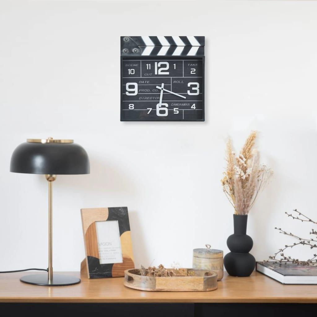 Kinematografické nástěnné hodiny černé 33 x 5 x 34 cm kov a MDF