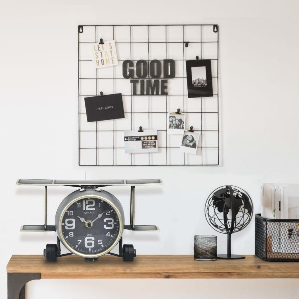 Stolní hodiny šedé 26,5 x 19,5 x 15 cm železo a MDF