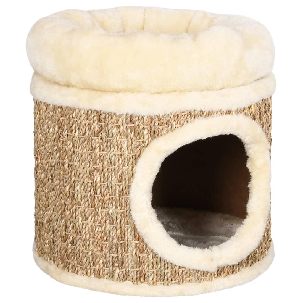 vidaXL Căsuță de pisici cu pernă pufoasă, 33 cm, iarbă de mare poza 2021 vidaXL