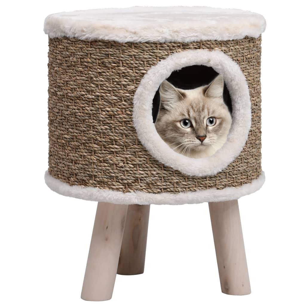 Kočičí domeček s dřevěnými nohami 41 cm mořská tráva