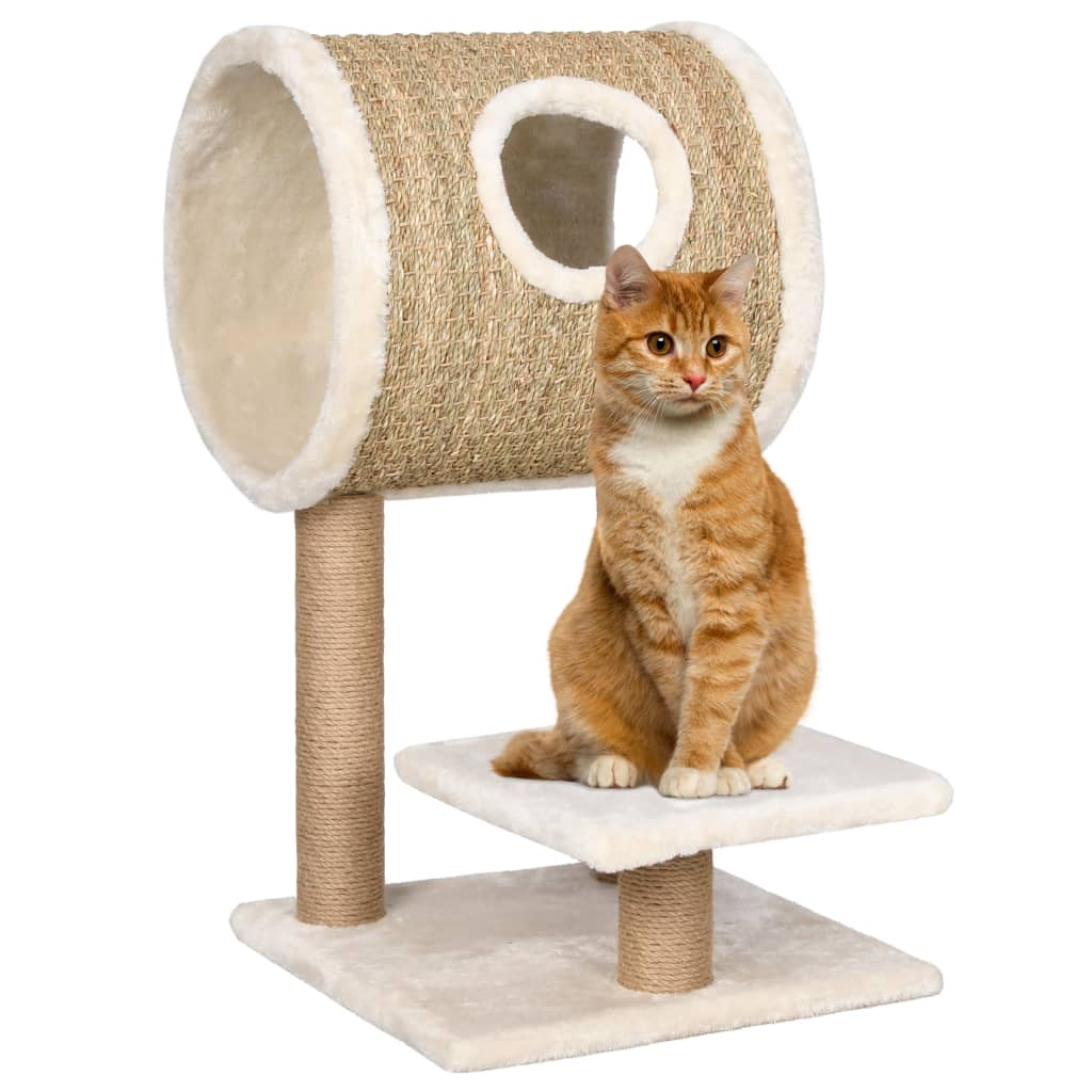 Škrabadlo pro kočky s tunelem a škrabadlem 69 cm mořská tráva