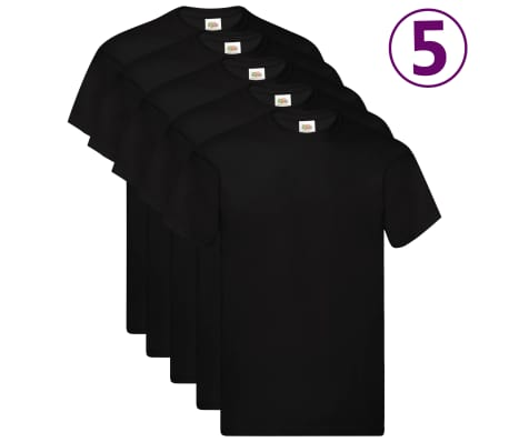 Fruit of the Loom T-shirts originaux 5 pcs Noir 3XL Coton-picture