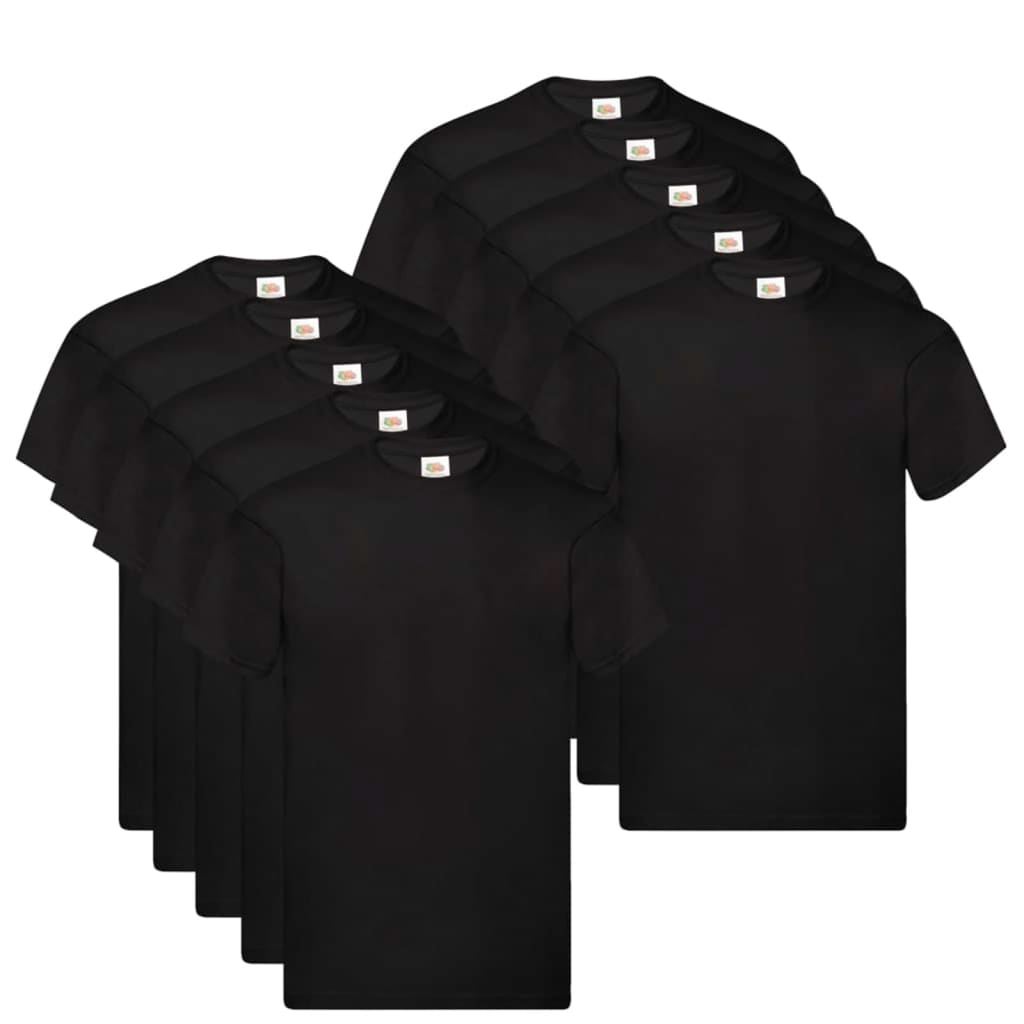 Fruit of the Loom T shirts Original 10 st S katoen zwart Nu voor 31.99 euro!