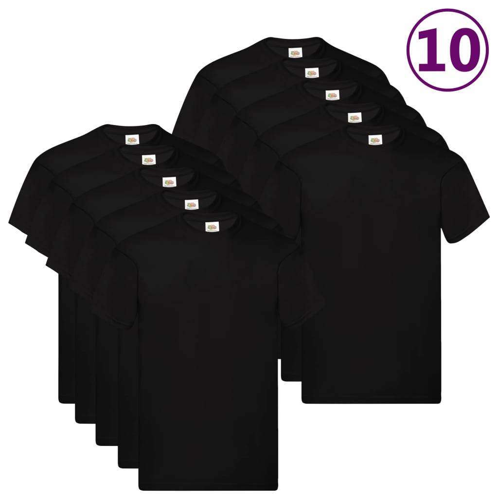 Fruit of the Loom Originální trička 10 ks černá 3XL bavlna