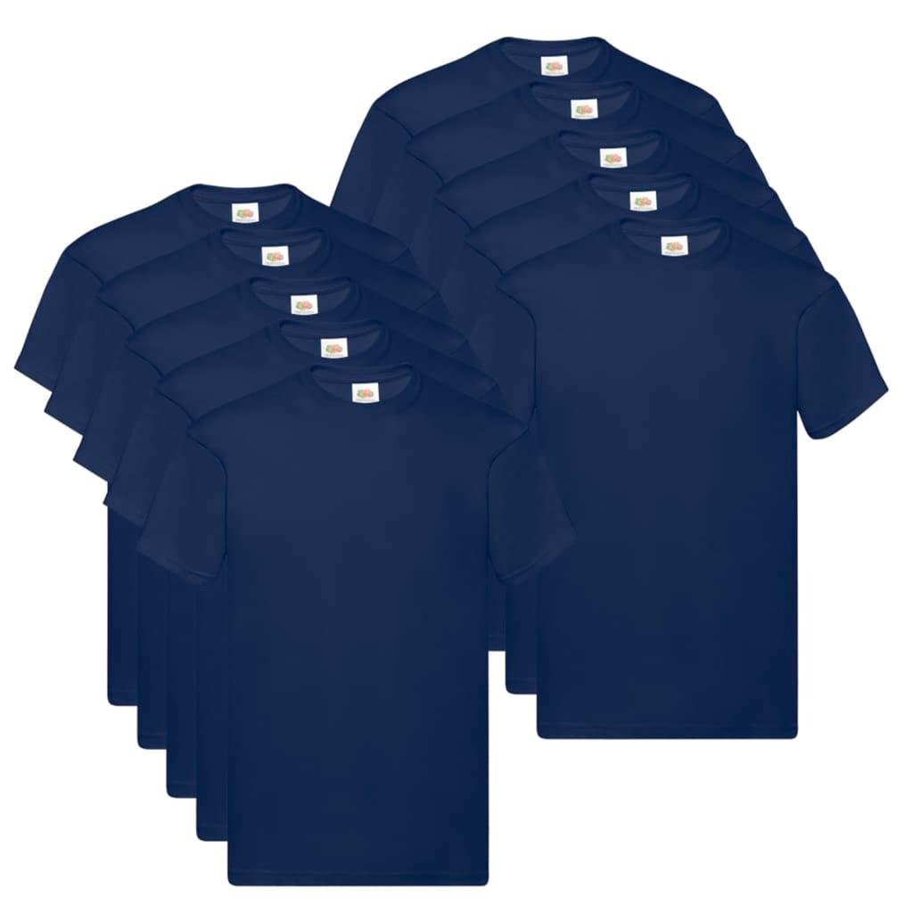 Fruit of the Loom T shirts Original 10 st L katoen marineblauw Nu voor 33.99 euro!