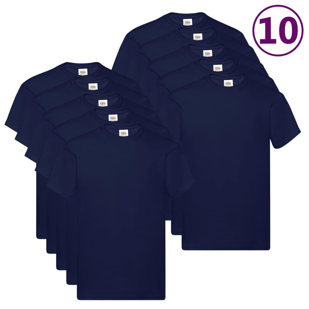 Fruit of the Loom Originální trička 10 ks námořnicky modrá XL bavlna