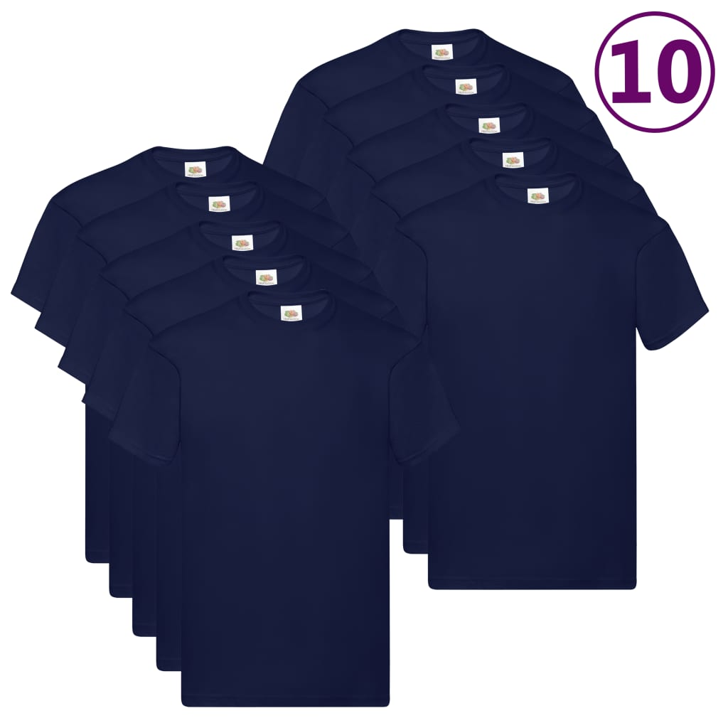 Fruit of the Loom Originální trička 10 ks námořnicky modrá 4XL bavlna