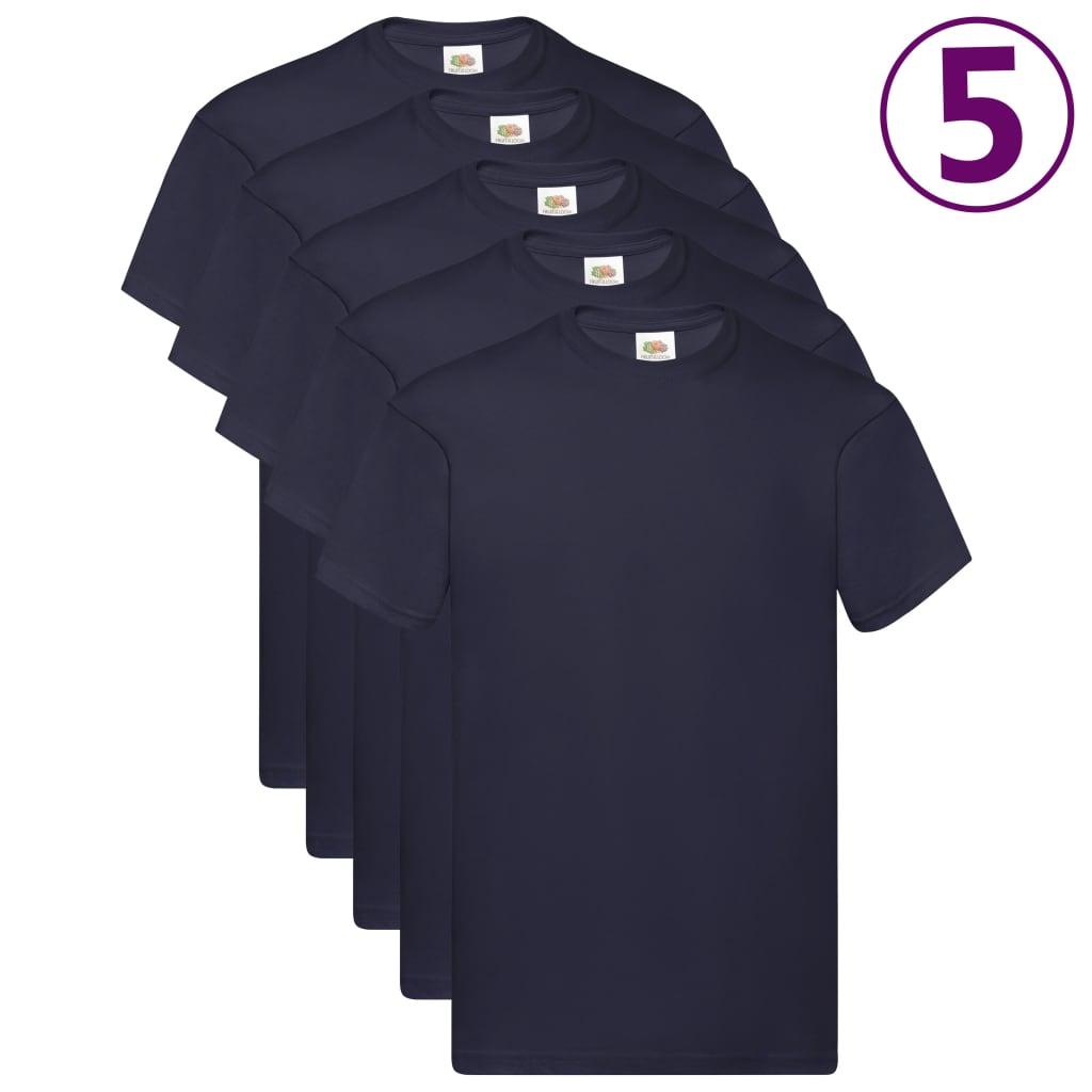 Fruit of the Loom Originální trička 5 ks tmavě modrá XL bavlna