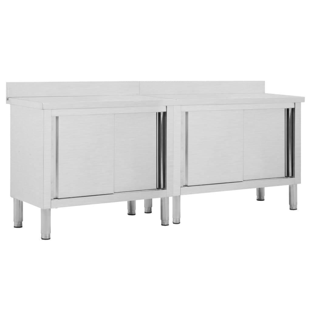 Pracovní stoly s posuvnými dvířky 2 ks 200x50x95 cm nerez ocel