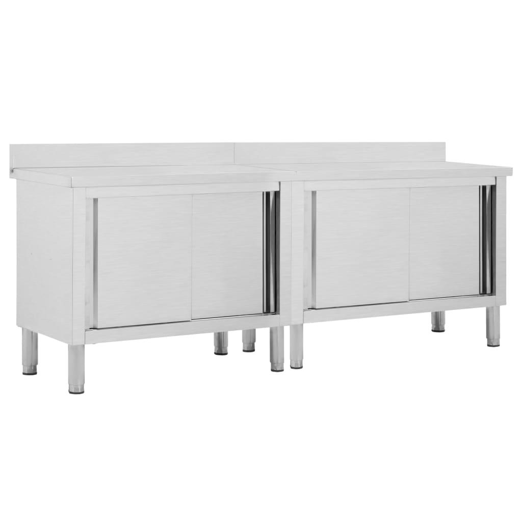 vidaXL Pracovní stoly s posuvnými dvířky 2 ks 240x50x95 cm nerez ocel