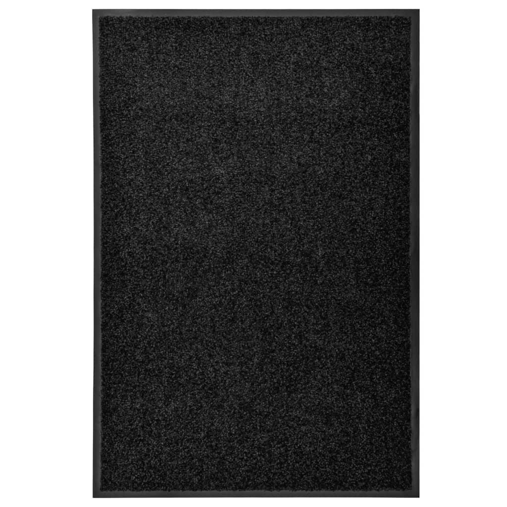 vidaXL Covoraș de ușă lavabil, negru, 60 x 90 cm poza 2021 vidaXL