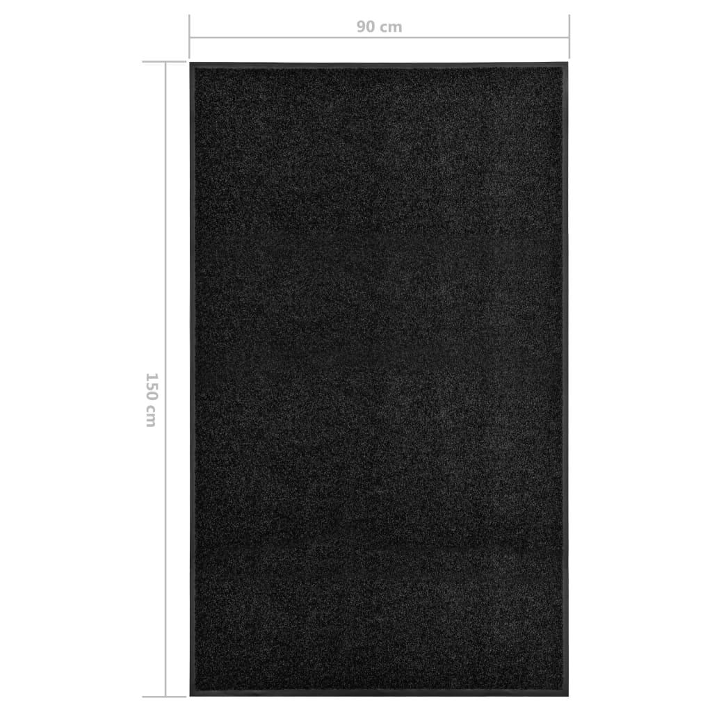 vidaXL Deurmat wasbaar 90x150 cm zwart