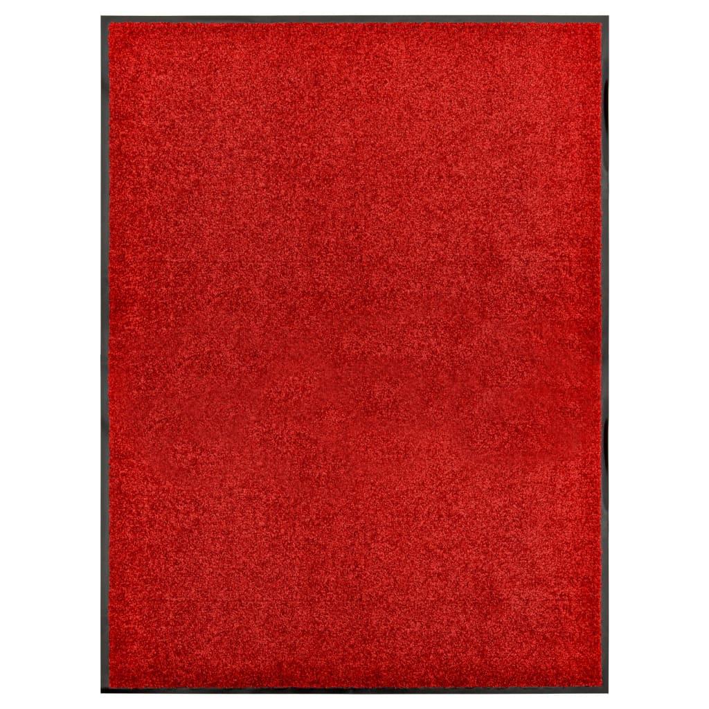 vidaXL Covoraș de ușă lavabil, roșu, 90 x 120 cm imagine vidaxl.ro