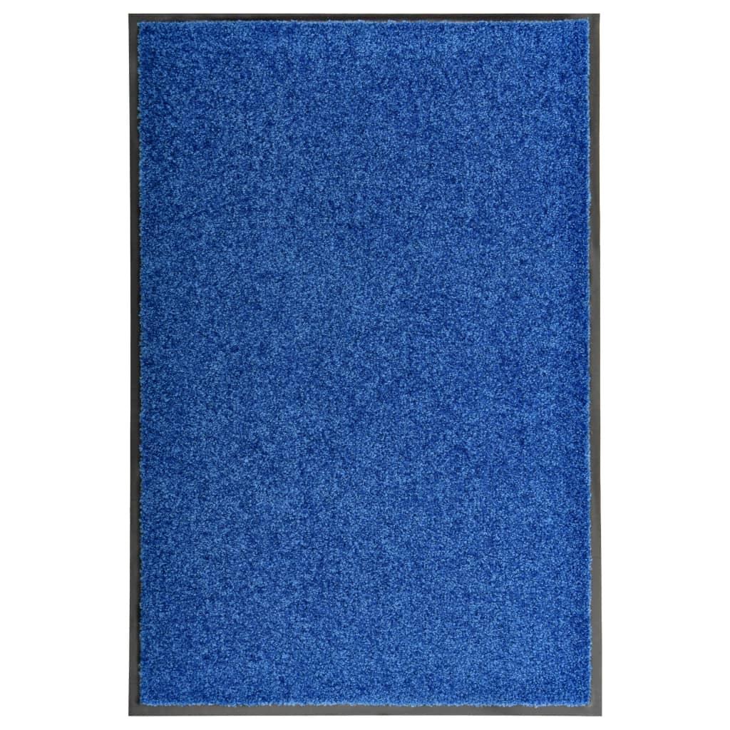 vidaXL Covoraș de ușă lavabil, albastru, 60 x 90 cm poza 2021 vidaXL