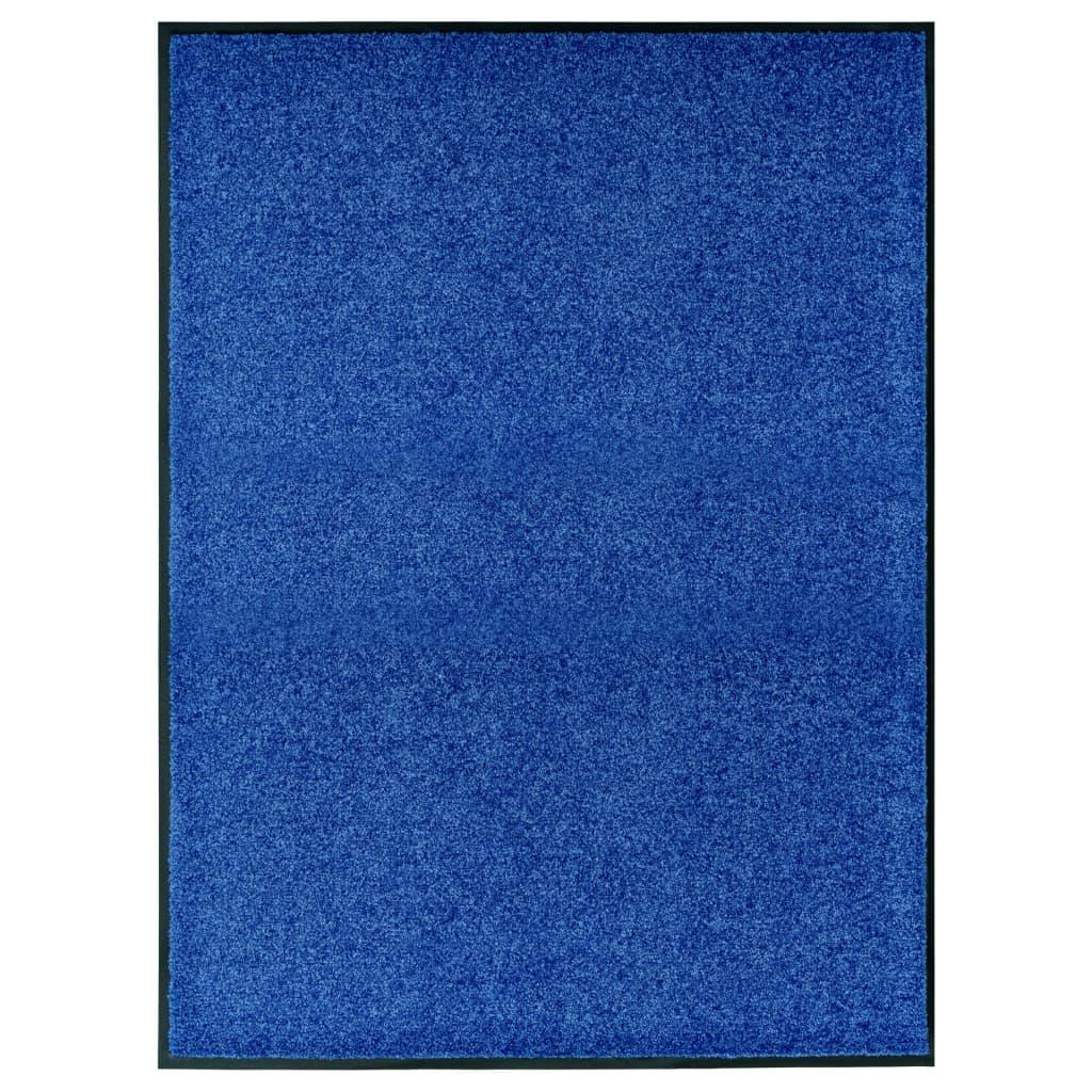 vidaXL Covoraș de ușă lavabil, albastru, 90 x 120 cm vidaxl.ro