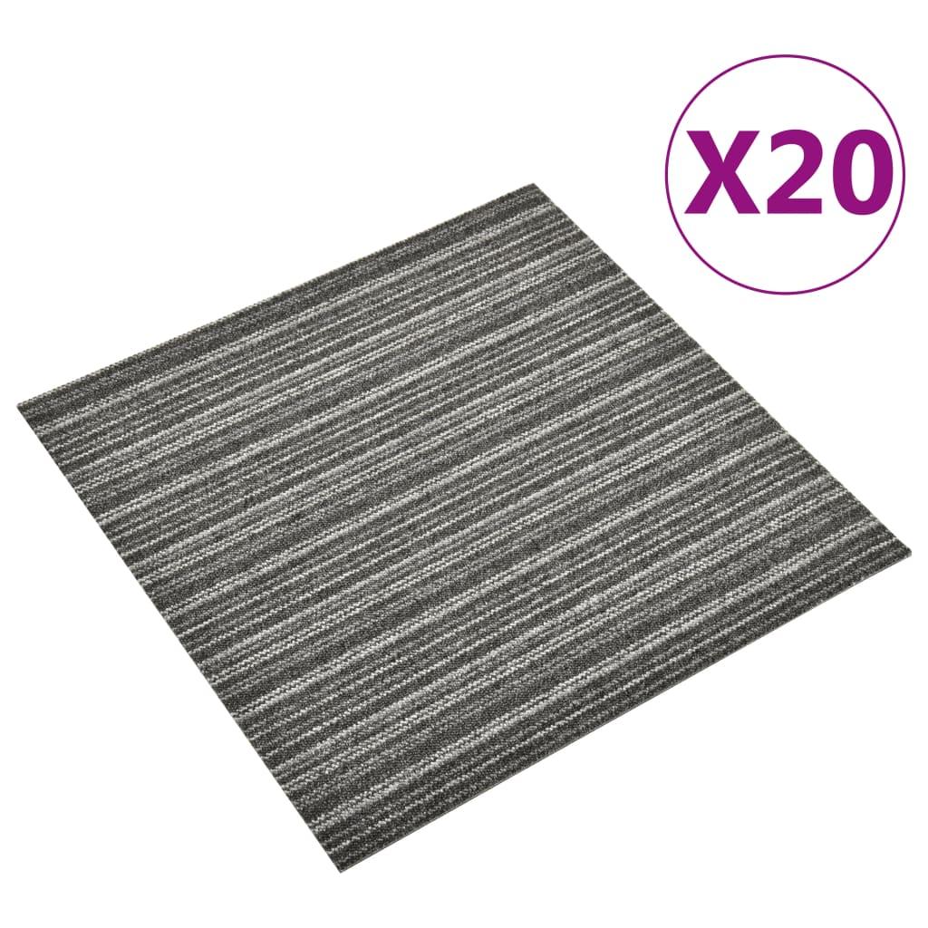 vidaXL Plăci de pardoseală, 20 buc., antracit cu dungi, 50x50 cm, 5 m² vidaxl.ro
