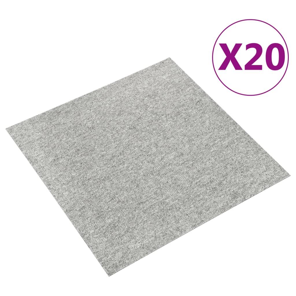 vidaXL Plăci de pardoseală, 20 buc., gri deschis, 50 x 50 cm, 5 m² vidaxl.ro