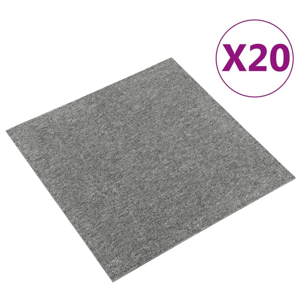 vidaXL Tapijttegels 20 st 5 m² 50x50 cm grijs