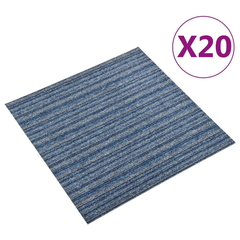 vidaXL Plăci de pardoseală, 20 buc., albastru cu dungi, 50x50 cm, 5 m² vidaxl.ro