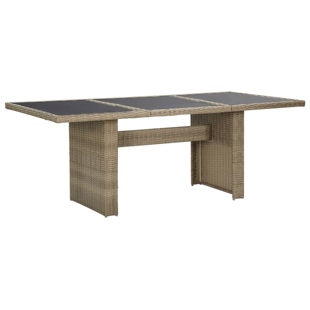 vidaXL Zahradní jídelní stůl hnědý 200 x 100 x 74 cm sklo a polyratan