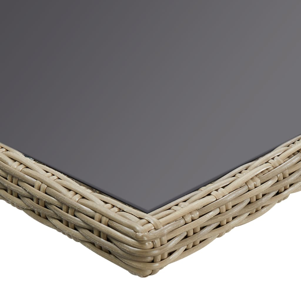 vidaXL Tuintafel 200x100x74 cm glas en poly rattan bruin