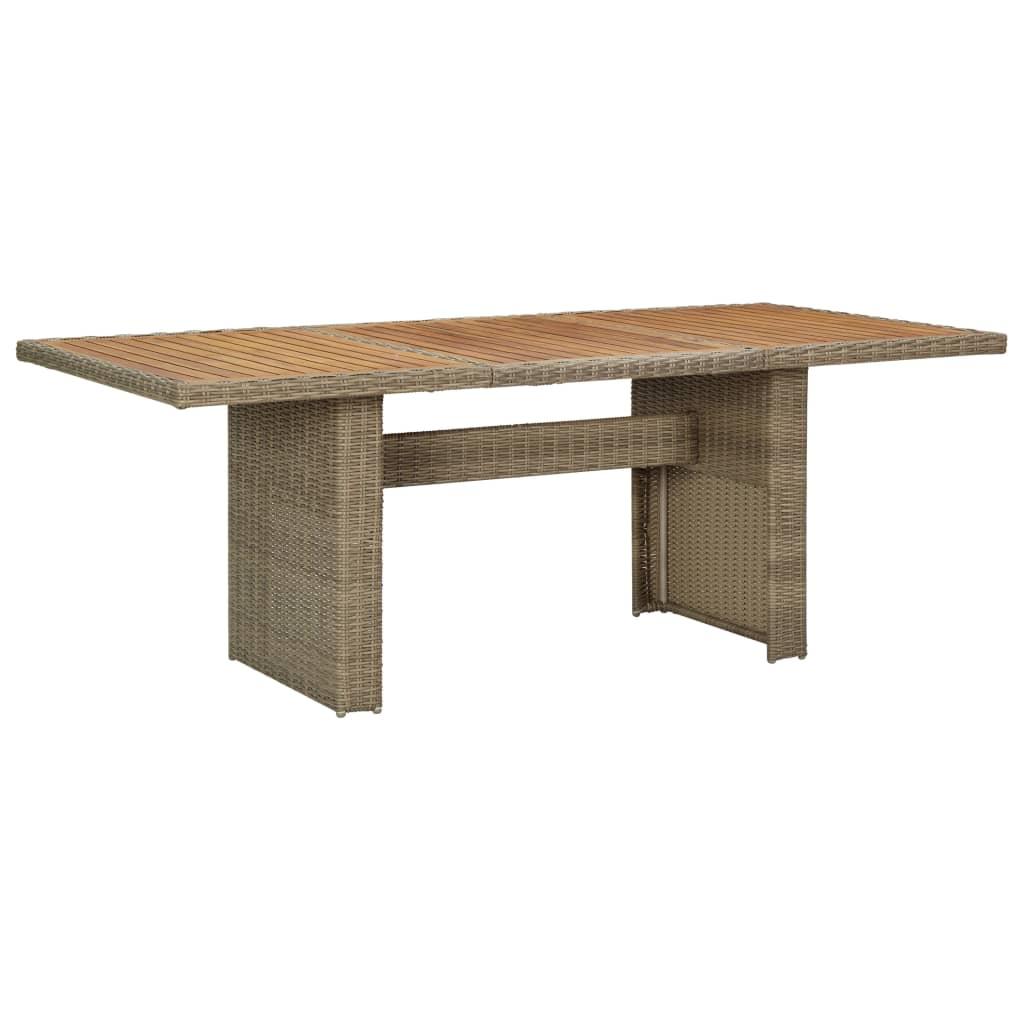vidaXL Zahradní jídelní stůl hnědý 200 x 100 x 74 cm polyratan