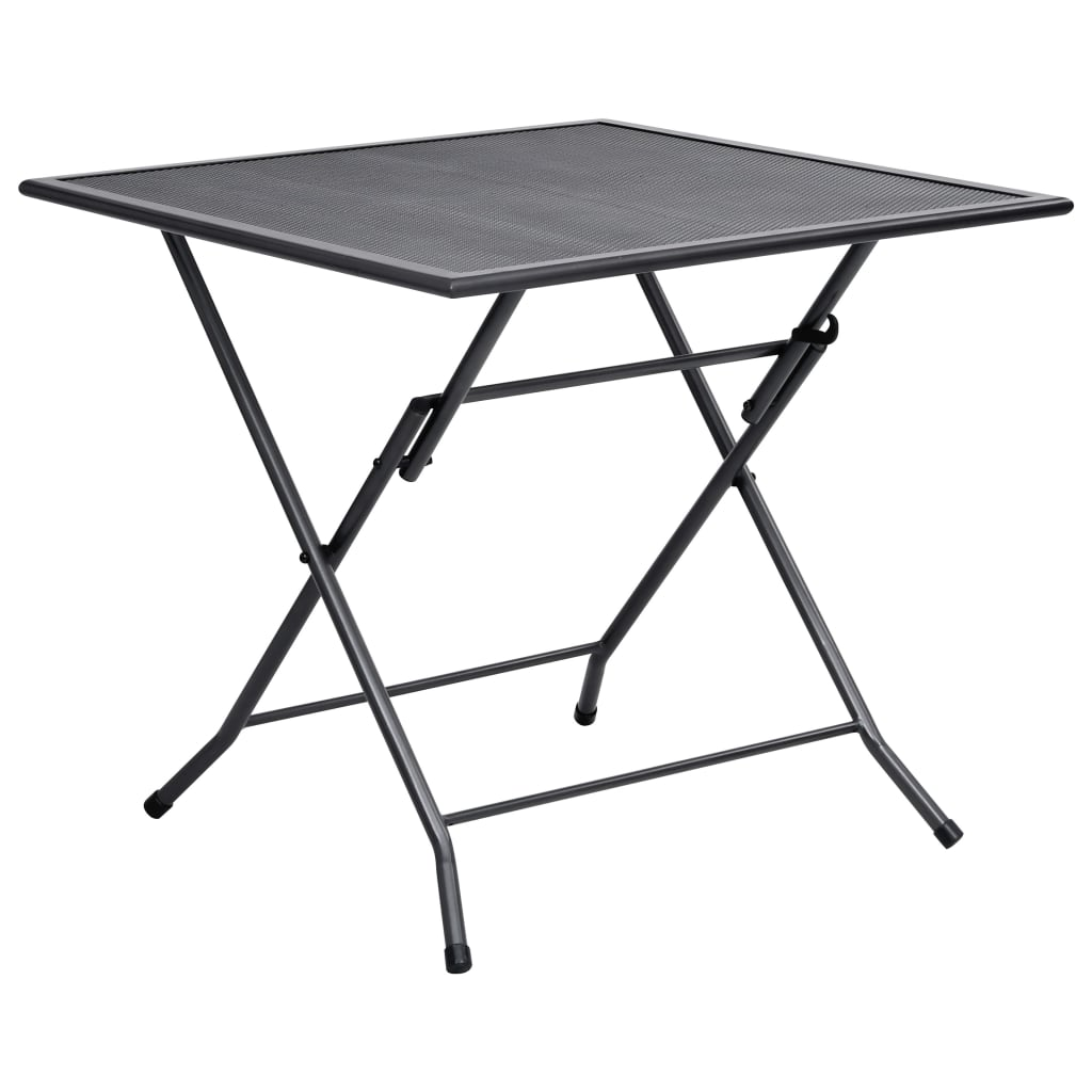 vidaXL Skládací pletivový stůl 80 x 80 x 72 cm ocel antracit