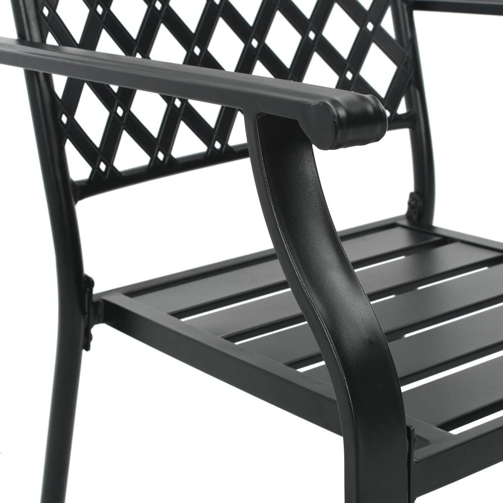 vidaXL Tuinstoelen 4 st mesh ontwerp staal zwart