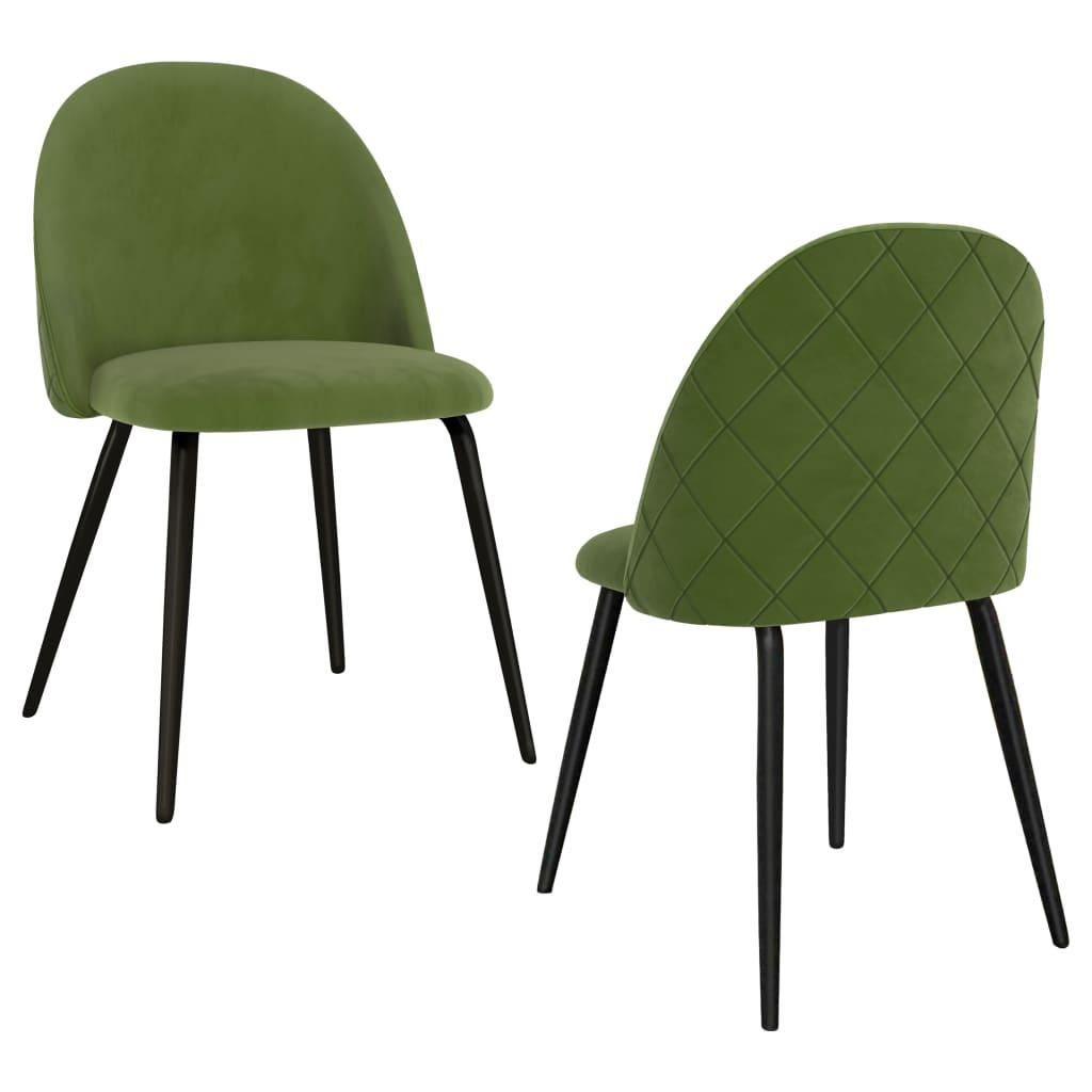 vidaXL Scaune de bucătărie, 2 buc., verde, material textil imagine vidaxl.ro