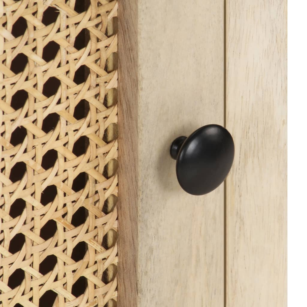 vidaXL Nachtkastje 40x30x50 cm massief mangohout en natuurlijk riet