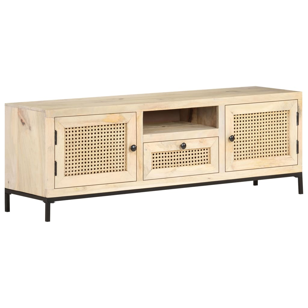 Tv-meubel 120x30x40 cm massief mangohout en natuurlijk riet
