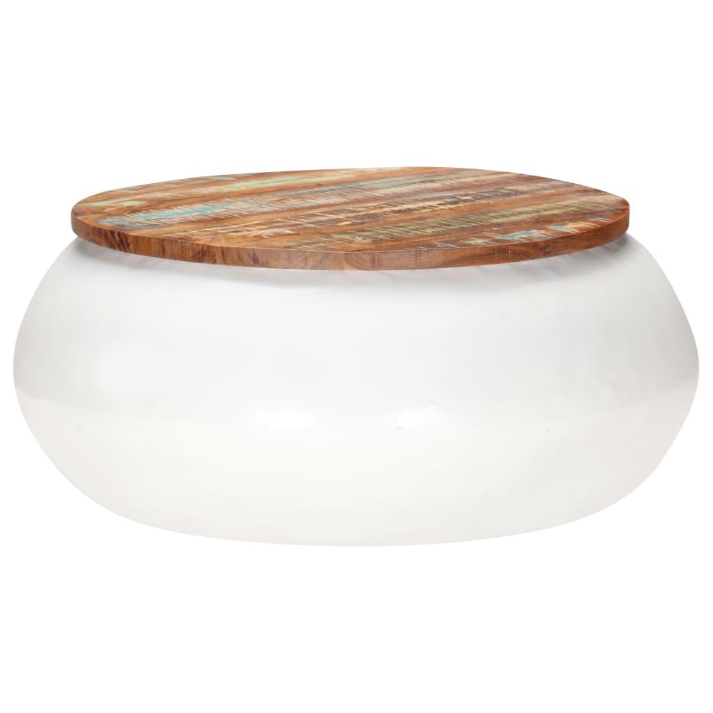 vidaXL Salontafel 68x68x30 cm massief gerecycled hout wit