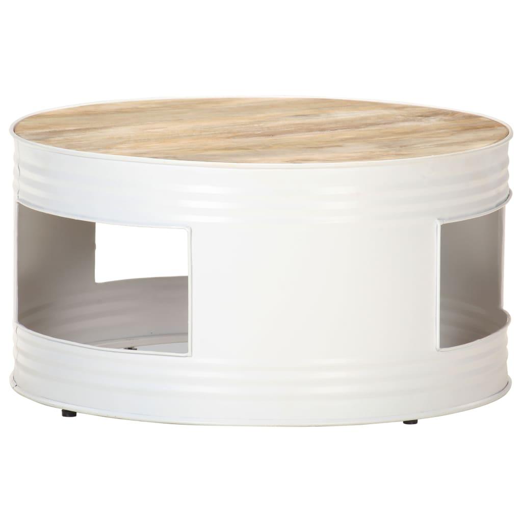 vidaXL Tavolino da Caffè Bianco 68x68x36 cm in Legno Massello di Mango