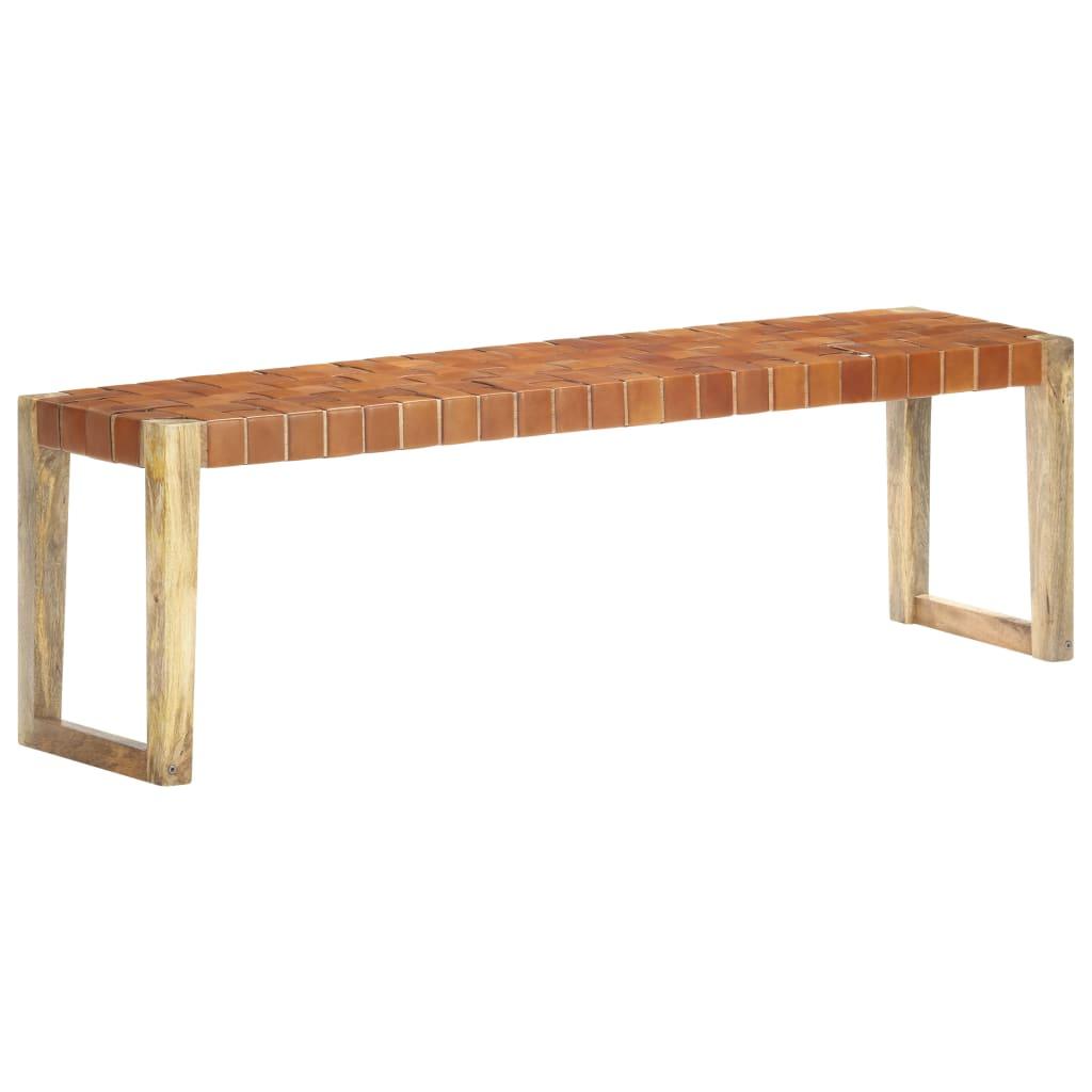 vidaXL Bancă, maro, 150 cm, piele naturală și lemn masiv de mango imagine vidaxl.ro