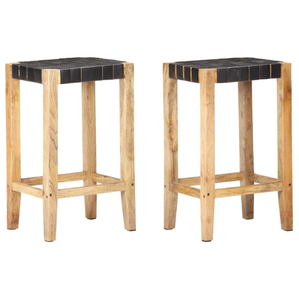 vidaXL Barski stolci od prave kože 2 kom crni 75 cm